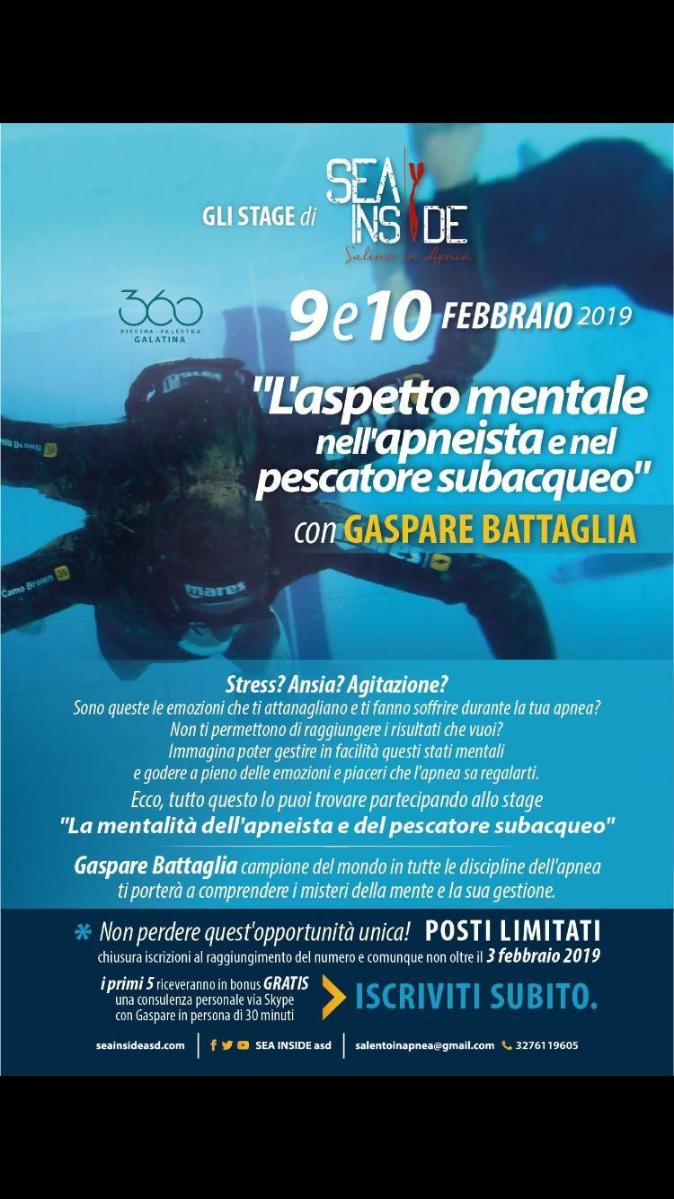 Locandina dell'evento l'aspetto mentale nell'apneista e nel pescatore subacqueo